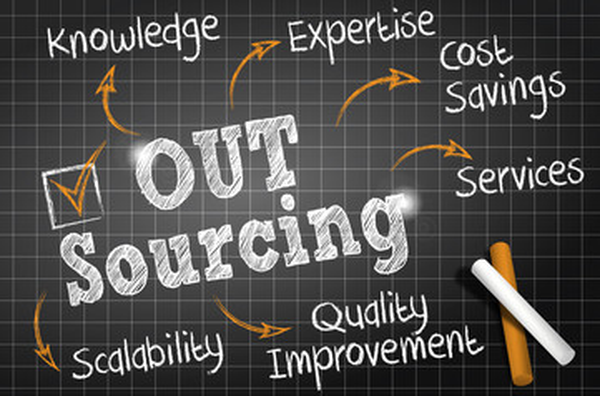 IT outsourcing chalkboard graphic